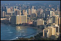 Waikiki seen from the Diamond Head crater, early morning. Waikiki, Honolulu, Oahu island, Hawaii, USA (color)