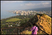Tourist on Diamond Head crater summit observation platform. Oahu island, Hawaii, USA (color)