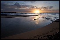 Mouth of the Wailua River, sunrise. Kauai island, Hawaii, USA ( color)