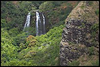 Opaekaa Falls and cliff. Kauai island, Hawaii, USA
