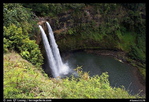 Picture/Photo: Wailua Falls, mid-morning. Kauai island ...