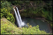 Wailua Falls, mid-morning. Kauai island, Hawaii, USA (color)