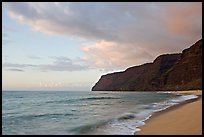 Polihale Beach and Na Pali coast,  sunset. Kauai island, Hawaii, USA ( color)