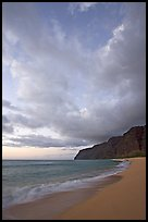 Polihale Beach and Na Pali cliffs,  dusk. Kauai island, Hawaii, USA (color)