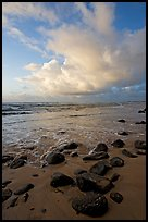 Boulders, beach and clouds, Lydgate Park, sunrise. Kauai island, Hawaii, USA (color)