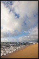 Beach, ocean, and clouds, Lydgate Park, early morning. Kauai island, Hawaii, USA