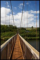 Wooden swinging bridge, Hanapepe. Kauai island, Hawaii, USA (color)