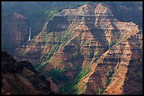 Waimea Canyon and waterfall, afternoon. Kauai island, Hawaii, USA