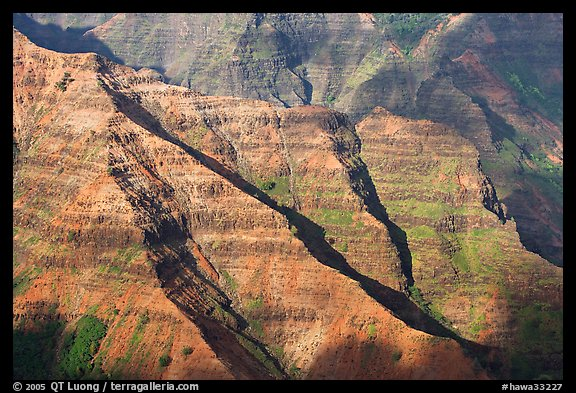 Ridges, Waimea Canyon, afternoon. Kauai island, Hawaii, USA (color)