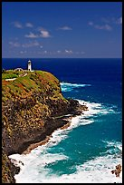 Kilauea Lighthouse, perched on a bluff. Kauai island, Hawaii, USA (color)