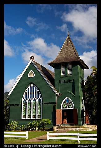 Green church of United Church of Chirst, Hanalei. Kauai island, Hawaii, USA