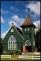 Green church of United Church of Chirst, Hanalei. Kauai island, Hawaii, USA (color)