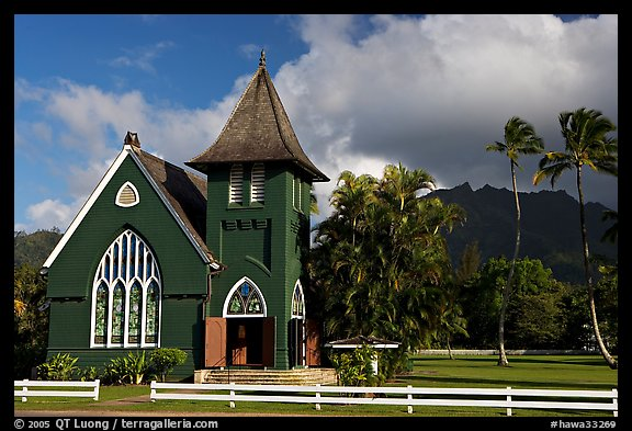 Waioli Huila Church built in 1912, Hanalei. Kauai island, Hawaii, USA