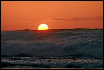 Big waves and sunset, Kee Beach. North shore, Kauai island, Hawaii, USA ( color)