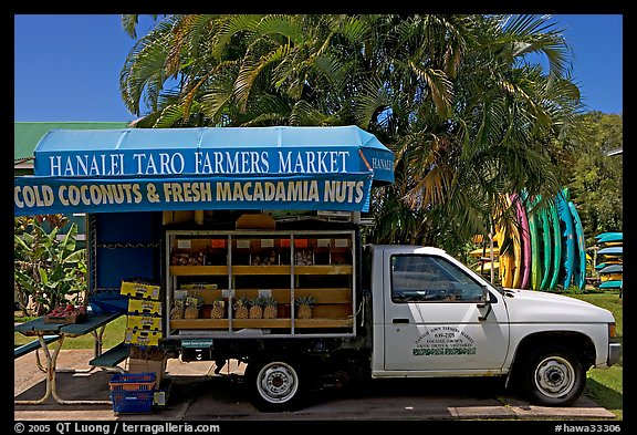 Pickup truck transformed into a fruit stand. Kauai island, Hawaii, USA (color)