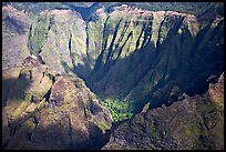 Aerial view of a crater, Na Pali Coast. Kauai island, Hawaii, USA