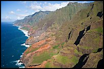 Aerial view of coastline, Na Pali Coast. Kauai island, Hawaii, USA (color)