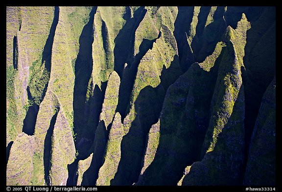 Aerial view of ridges, Na Pali Coast. Kauai island, Hawaii, USA