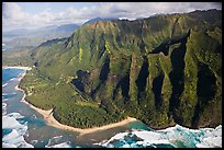 Aerial view of the East end of the Na Pali Coast, with Kee Beach. Kauai island, Hawaii, USA (color)