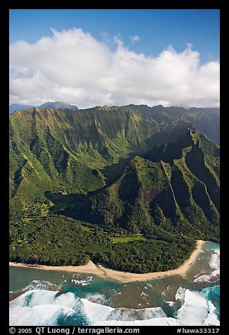 Aerial view of the East end of the Na Pali Coast, with Kee Beach. Kauai island, Hawaii, USA