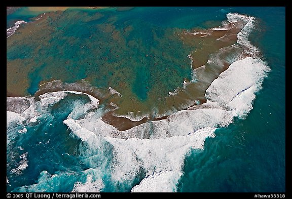 Aerial view of surf. Kauai island, Hawaii, USA (color)