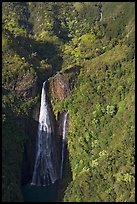 Aerial view of the Manawaiopuna falls (nicknamed Jurassic falls since featured in the movie). Kauai island, Hawaii, USA (color)