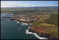 Aerial view of Port Allen. Kauai island, Hawaii, USA (color)