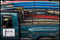 Pick-up truck loaded with surfboards, Hanalei. Kauai island, Hawaii, USA