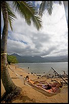 Family on Hammock, Puu Poa Beach. Kauai island, Hawaii, USA ( color)