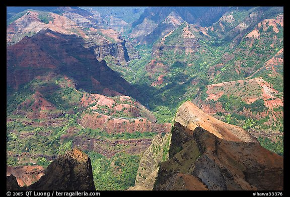 Shadows across Waimea Canyon, afternoon. Kauai island, Hawaii, USA