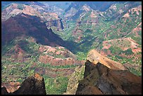 Shadows across Waimea Canyon, afternoon. Kauai island, Hawaii, USA (color)