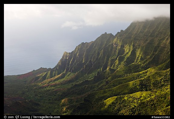 Kalalau Valley and clouds, late afternoon. Kauai island, Hawaii, USA