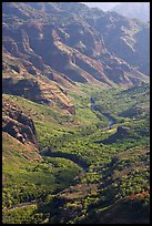 Waimea River, lower Waimea Canyon, early morning. Kauai island, Hawaii, USA (color)