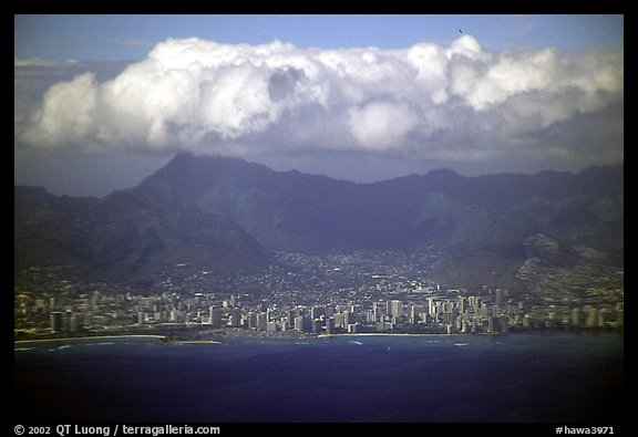 Aerial view. Waikiki, Honolulu, Oahu island, Hawaii, USA