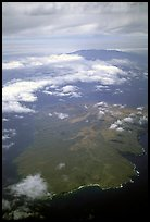Aerial view of Kohoolawe, Maui in the background. Maui, Hawaii, USA