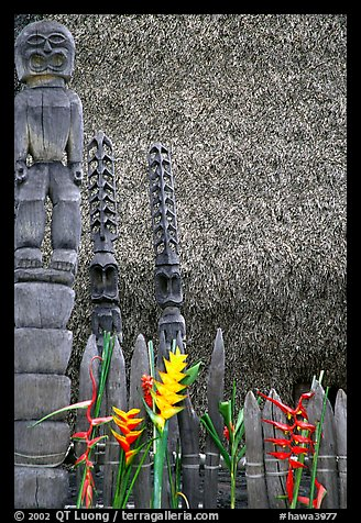 Flowers offered to Polynesian idols, Place of Refuge. Big Island, Hawaii, USA
