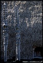 Statues of Polynesian gods,  Puuhonua o Honauau (Place of Refuge). Big Island, Hawaii, USA ( color)
