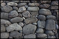 Detail of ancient hawaiian wall, Kaloko-Honokohau National Historical Park. Big Island, Hawaii, USA (color)