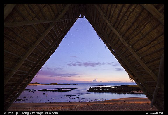 Aiopio fishtrap framed by Halau at dusk, Kaloko-Honokohau National Historical Park. Big Island, Hawaii, USA