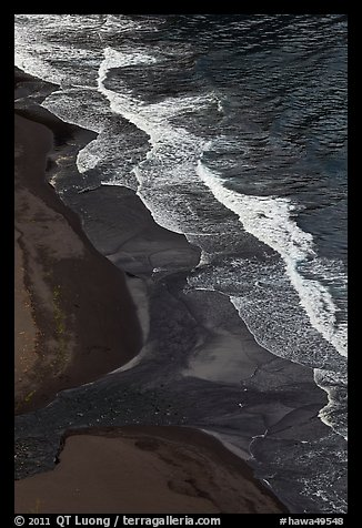 Surf and black sand beach from above, Waipio Valley. Big Island, Hawaii, USA (color)