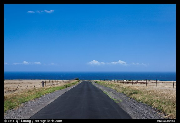 Road and Pacific Ocean, South Point. Big Island, Hawaii, USA (color)