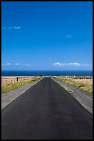 Narrow road and ocean,  South Point. Big Island, Hawaii, USA (color)