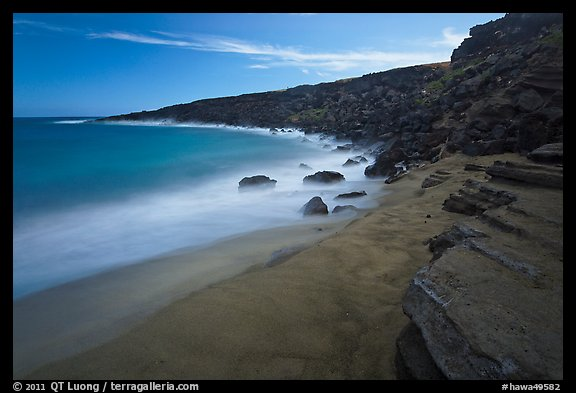 Olivine sand beach. Big Island, Hawaii, USA (color)