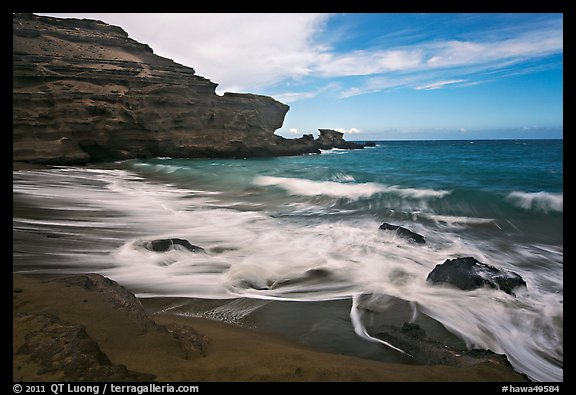 Surf and green sand, Papakolea Beach. Big Island, Hawaii, USA
