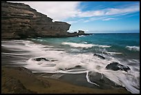 Surf and green sand, Papakolea Beach. Big Island, Hawaii, USA (color)