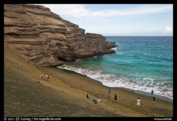 People on Mahana (green sand) Beach. Big Island, Hawaii, USA (color)