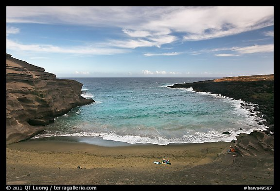 Couple on Papakolea green sand beach. Big Island, Hawaii, USA (color)