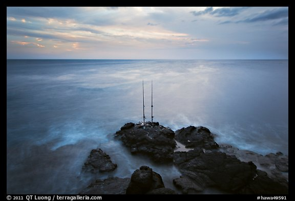 Fishing rods at sunset, Ka Lea (South Point). Big Island, Hawaii, USA