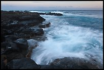 Surf and lava shoreline at sunset, South Point. Big Island, Hawaii, USA (color)