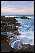 Surf and volcanic shore at sunset, South Point. Big Island, Hawaii, USA (color)